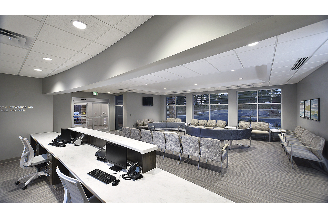 total healthcare reception desk view into waiting room