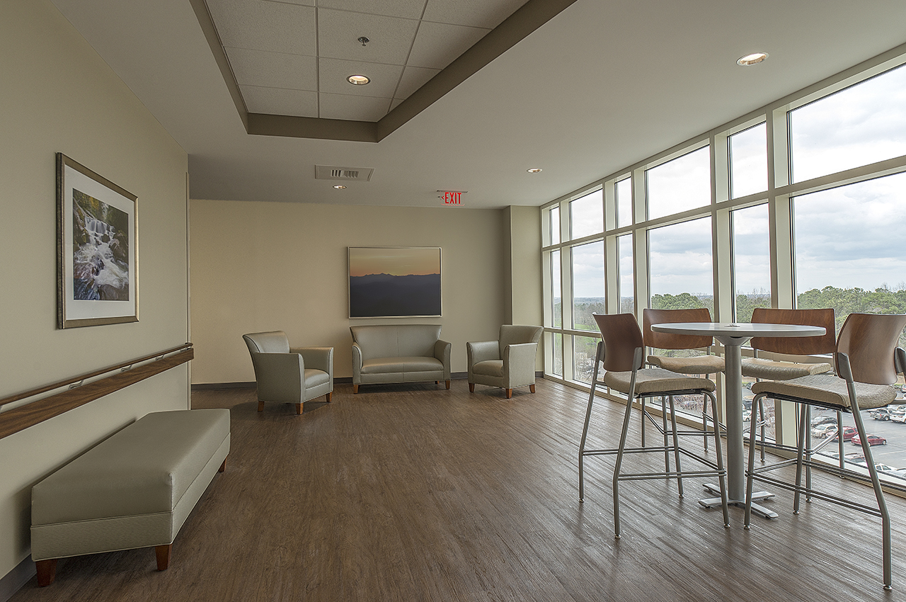 5th floor lobby with daylighting and beautiful views to surrounding campus