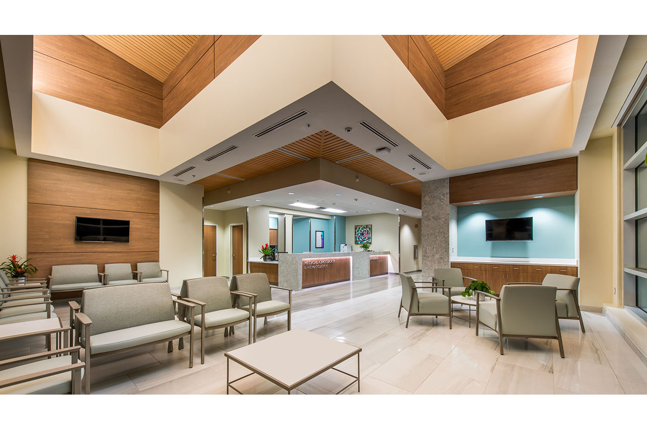second floor lobby with ceiling feature
